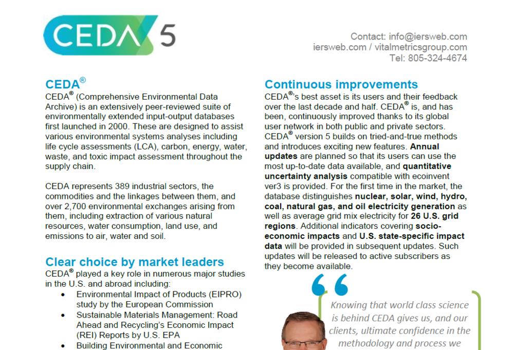 BROCHURE : Comprehensive Environmental Data Archive (CEDA 5)