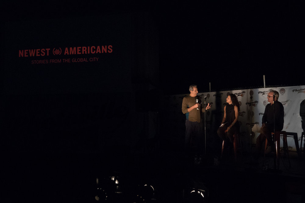 Newest Americans partners Ed Kashi, Julie Winokur, and Tim Raphael introduce the project in the Beer Garden at Photoville's Opening Night. (Photo by Stephanie Khoury)