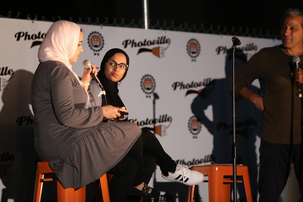 Ed Kashi interviews Dina Sayedahmed (left) and Hamna Saleem after screening Hijabi World on Opening Night at Photoville. (Photo by Anthony Alvarez)