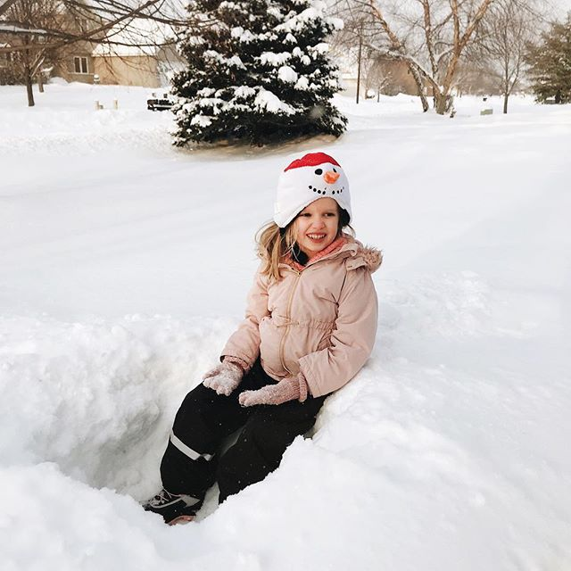 Just the happiest girl ever today, embracing her Minnesota winter! ⛄️