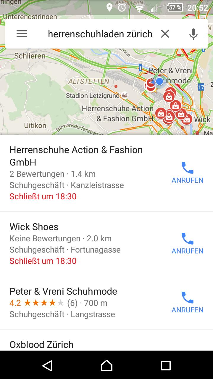 Lokale Suche auf Google Maps