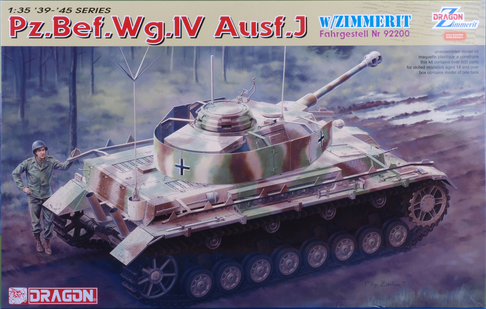 It's got Zimmerit! Panzer IV Ausf. J with command antenna parts.