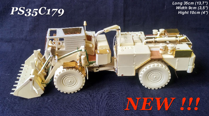 LIMITED EDITION!!!!!! First 50 customers in boxes contains signed certificate and order number and 1pcs figure Czechoslovak Army soldier in 1/35 scale Detailed 1/35 scale multimedia kit for adult collectors to assemble. DOK-M Heavy Army Dozer is complete kit contains parts of resin (many parts from 3D technology), photo-etch, window folie and decals (Czechoslovak Army & NVA East Germany Army) - Total 500+ parts!!!! Kit contains also CD-R with detail instruction photos and real vehicles photos. Kit contains realistic reproduction of large movable dozer share. Also complete representation of cabin interior. Door can be built in open or closed position.