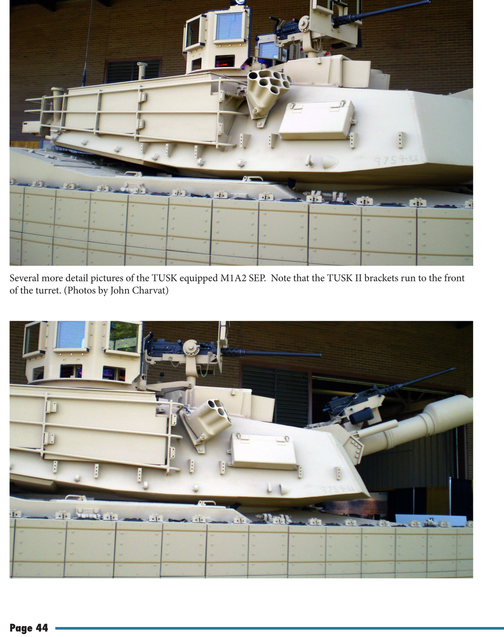 Multiple views of an Abrams with the TUSK I array in place follow.
