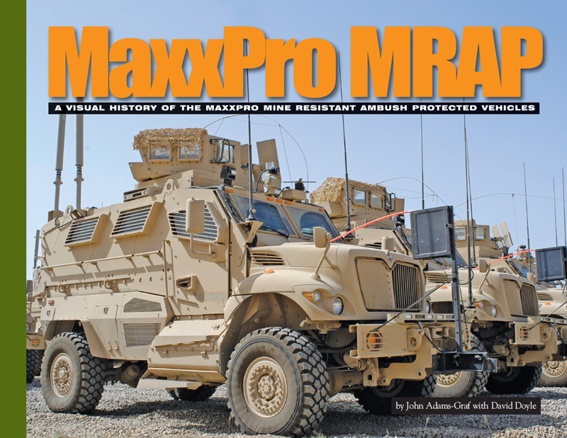 From its introduction in 2007, the International Harvester Navistar MaxxPro evolved to meet the demands of U.S. military personnel in defeating the effects of improvised explosive devices on vehicles in the theaters of operation in Iraq and Afghanistan. By 2015, nearly 9,000 MaxxPro MRAP variants had been in service with 16 nations in addition to the United States.  Based on the sturdy and reliable line of International Harvester commercial trucks, the MaxxPro MRAP variants would grow to encompass the M1224; M1224A1; M1234; M1235 and the massive M1249 wrecker. Noted military vehicle experts John Adams-Graf and David Doyle tackle this subject like never before. Tracing the origins of the MaxxPro from its conception in 2006 and throughout its varied career in all combat theaters, this is a Visual History title like no other. Drawing on official documents and Defense Department imagery every facet of the vehicle's development and deployment are covered. Each of the full-page color photographs is more stunning than the next. Arranged chronologically, the coverage depicts Iraq and Afghanistan zones, as well as training areas and finally the redeployment of the MaxxPro family in the hands of Iraqi and Afghani national troops. This coverage is also supplemented with detailed walk around images of the M1224 and M1249 wrecker. All in all, a title not to be missed by the modern vehicle enthusiast and an indispensable reference for anyone owning the Kinetic, Trumpeter, or Bronco scale model kits. I