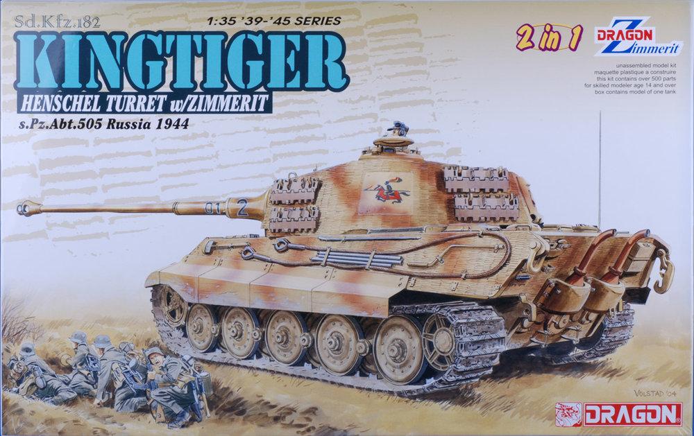 DRA6840, 1/35 Sd.Kfz.182 Kingtiger Henschel Production w/Zimmerit s.Pz.Abt.505 Russia 1944 (2 in 1)