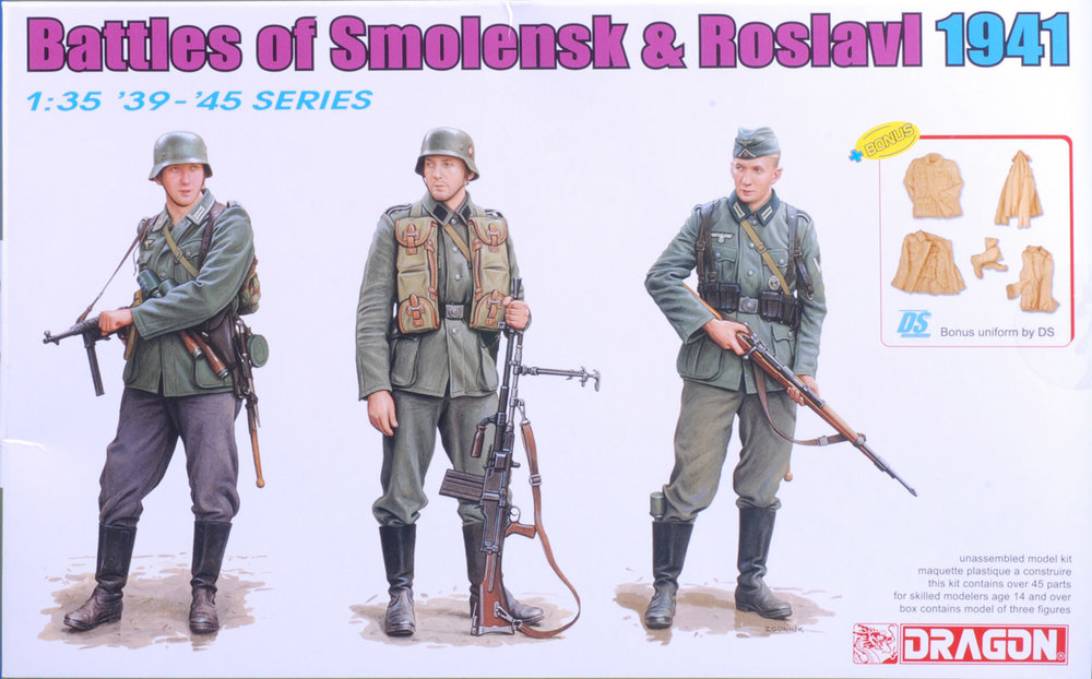 This set gives you a mix of two Wehrmacht infantry types along with an SS guy toting an antitank rifle.