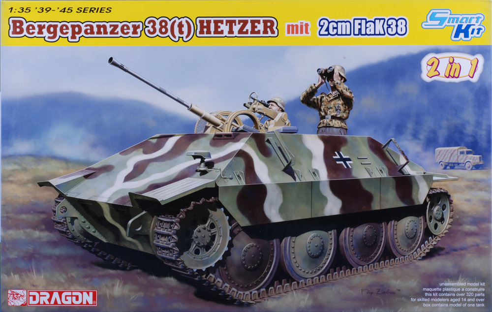 This kit creates an antiaircraft vehicle by combining a Hetzer recovery vehicle chassis and a 2cm Flak gun. New upper hull, engine deck and road wheels.