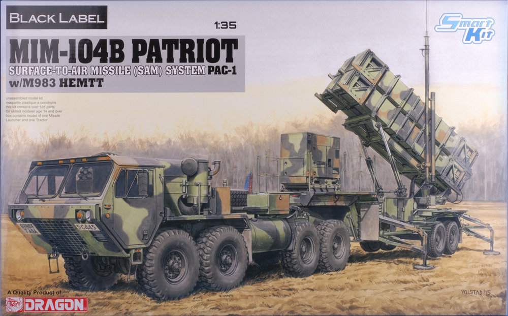 This kit represents an early version of the Patriot SAM System. The M901 launching station contained four MIM-104B missiles. This kit comes with a HEMMTT tractor. We looked at DRA-3563 in July which featured the more modern launcher (MIM-104F) that contains 16 missiles but did not include a tractor. Aside from these differences, the two kits share a great many common parts.