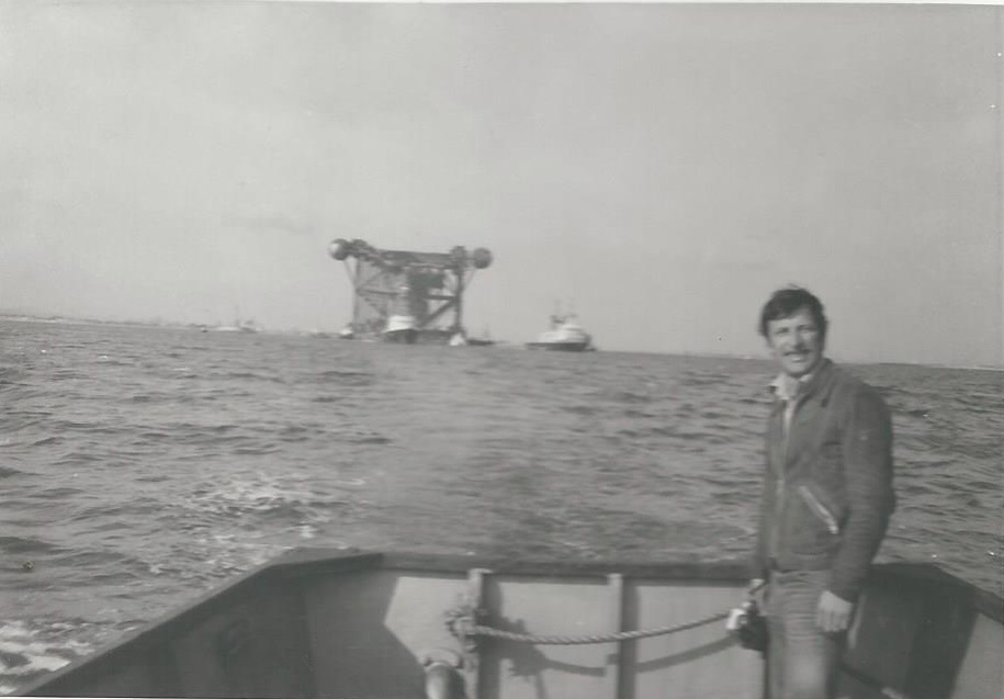 "England, 1972-73. A French man in the UK North Sea. A builder and an adventurer at heart, my dad, Jean-Louis, overlooked the construction of a ""jacket"", the metallic structure that supports an oil offshore platform. This was the day the ""jacket"" set sail in the North Sea."