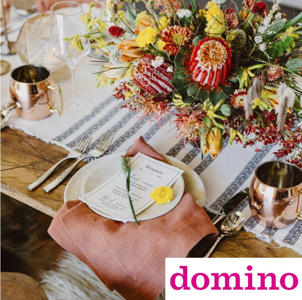 Domino Magazine Feature - How to Style a Boho Thanksgiving Table
