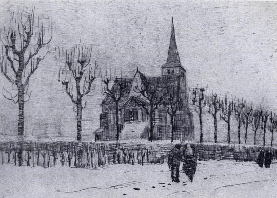 "Vincent Van Gogh, 'The Church in Neunen in Winter"", 1883"