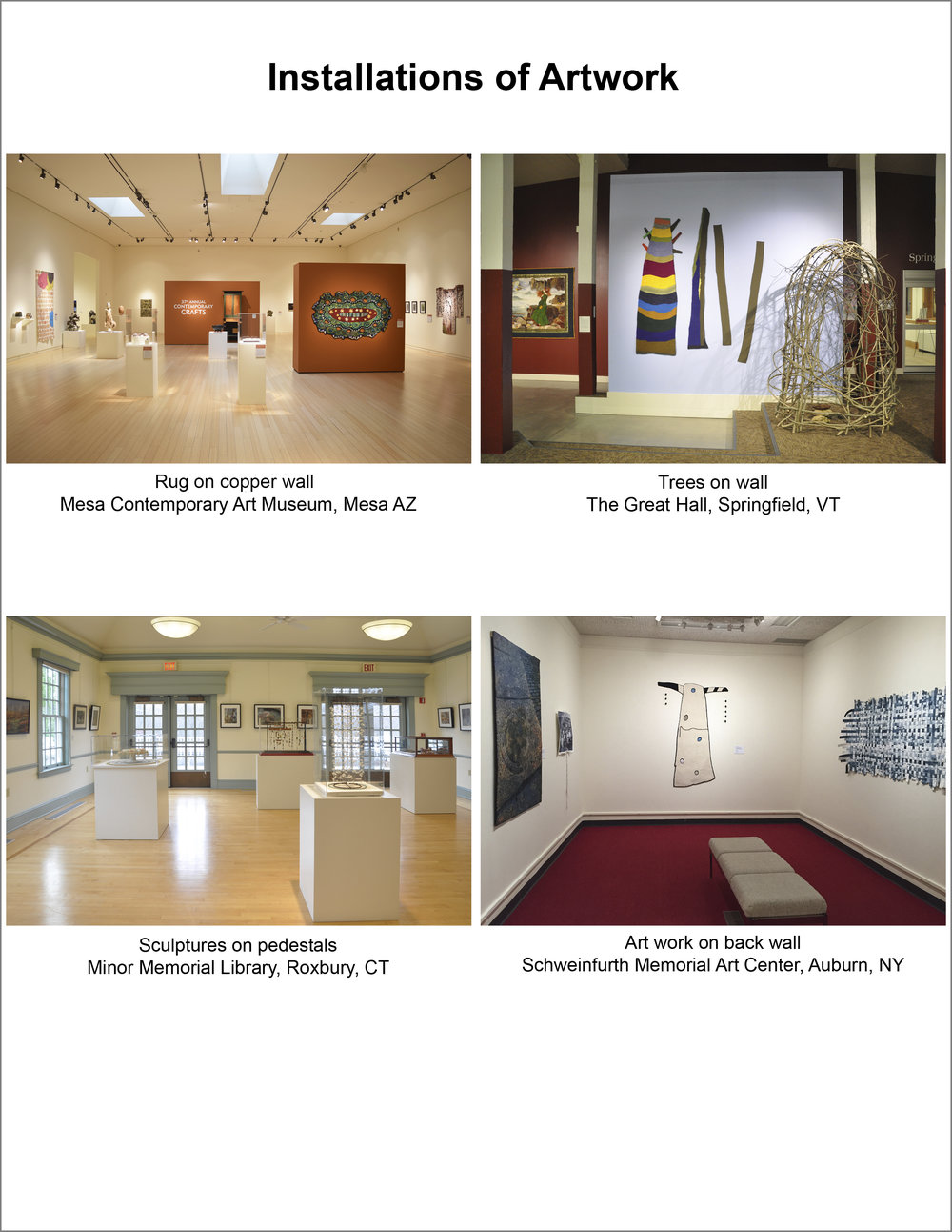 Artwork on Exhibit in Galleries