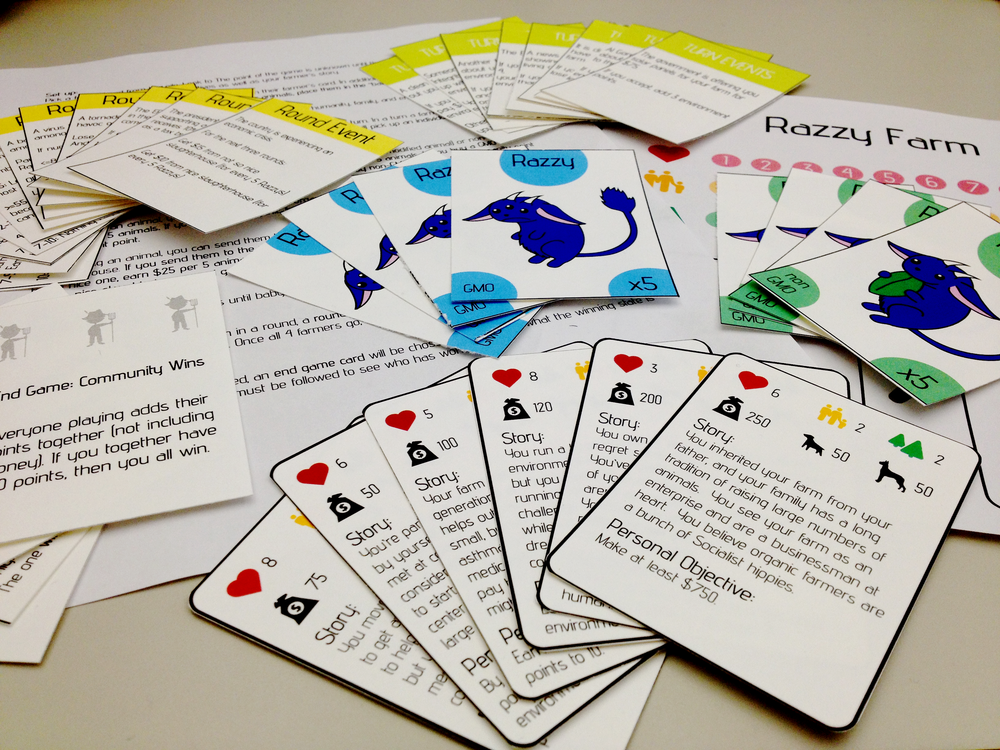 Final game including round cards, turn cards, score cards, currency and instructions