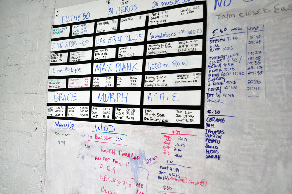 Board at the CrossFit gym that documents members' performances each day