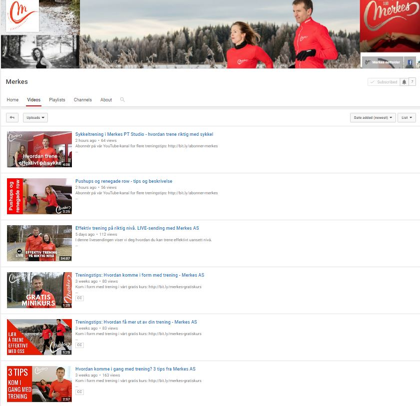 Klikk her for å gå til vår YouTube kanal og se hva vi har lagt ut til nå: Merkes - YouTube