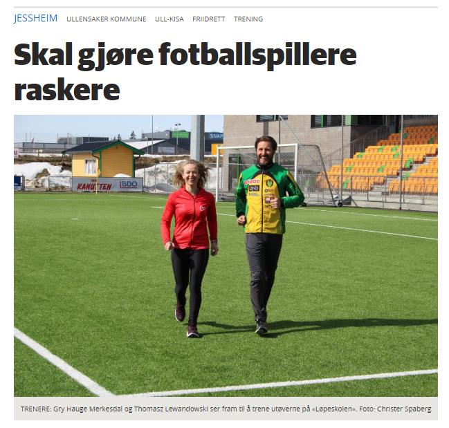 Nyhetssak i Romerikesblad omkring vårt samarbeid om løpeskole med Ull/Kisa Friidrett.