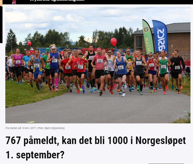 Artikkel i Kondis om Norgesløpet og økt påmelding. Vi kan røpe at det ble 1002 påmeldte.