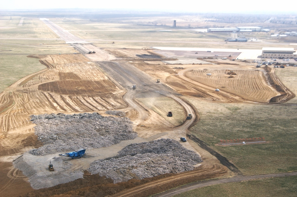 A view from overhead of the demolition and sub-base preparations.