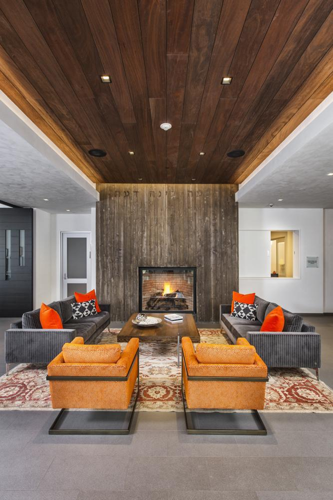 This Feeling Is Brought To Life In The Fireplace Seating Area In The Aspen  Jewish Community Center. In The Space, The Color Orange ...