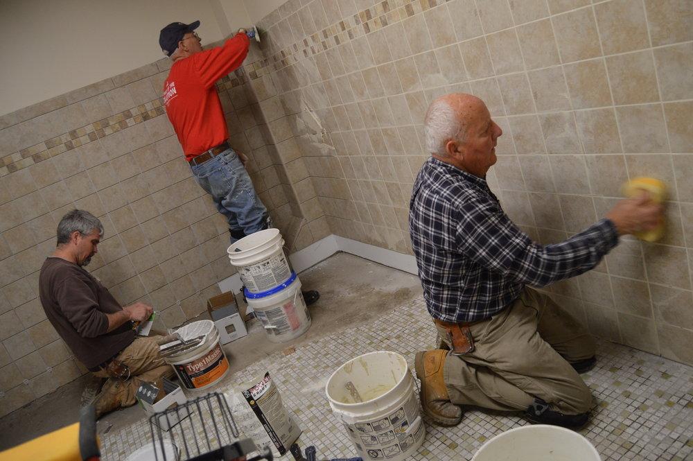 Activity Center Bathroom remodeling during Spring Work Week.
