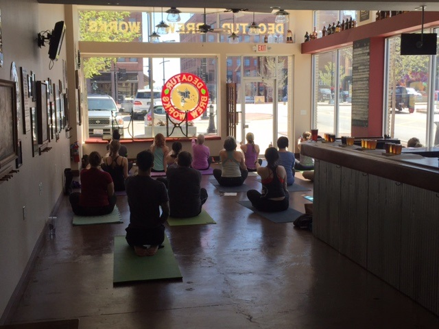 Last Saturday DBW hosted its first beer and yoga session. We had about 15 people. Led by Chuck Beck, everyone had a great time and stuck around for great beer. This will be a monthly event. Stop by and check it out!