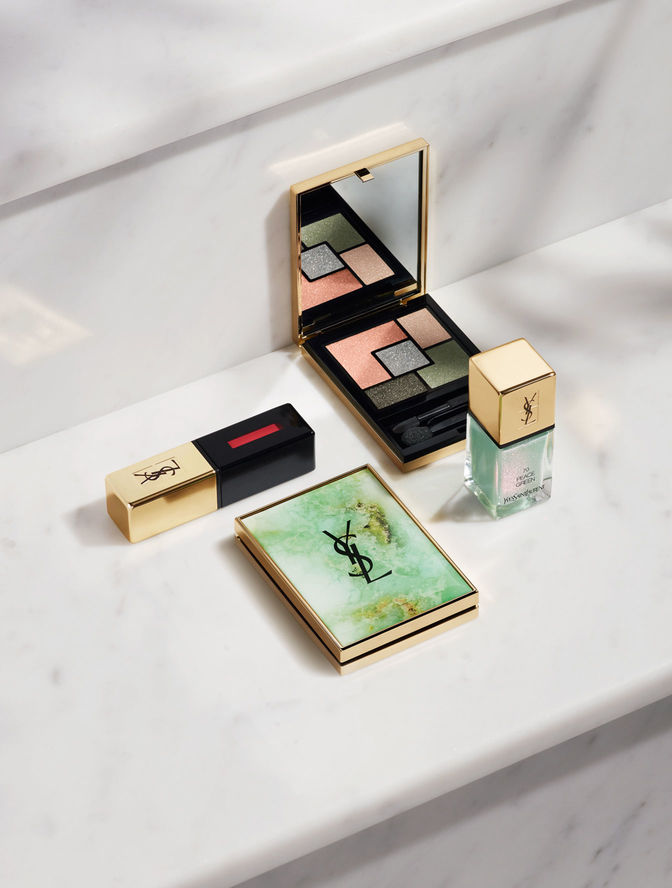 Yves Saint Laurent Boho Stones makeup collection Spring Look 2016 Couture Palette Collection Indien Jaspe € 69, Laque Couture Love Pink, Peace Green € 27, Face Palette Gypsy Opale € 64