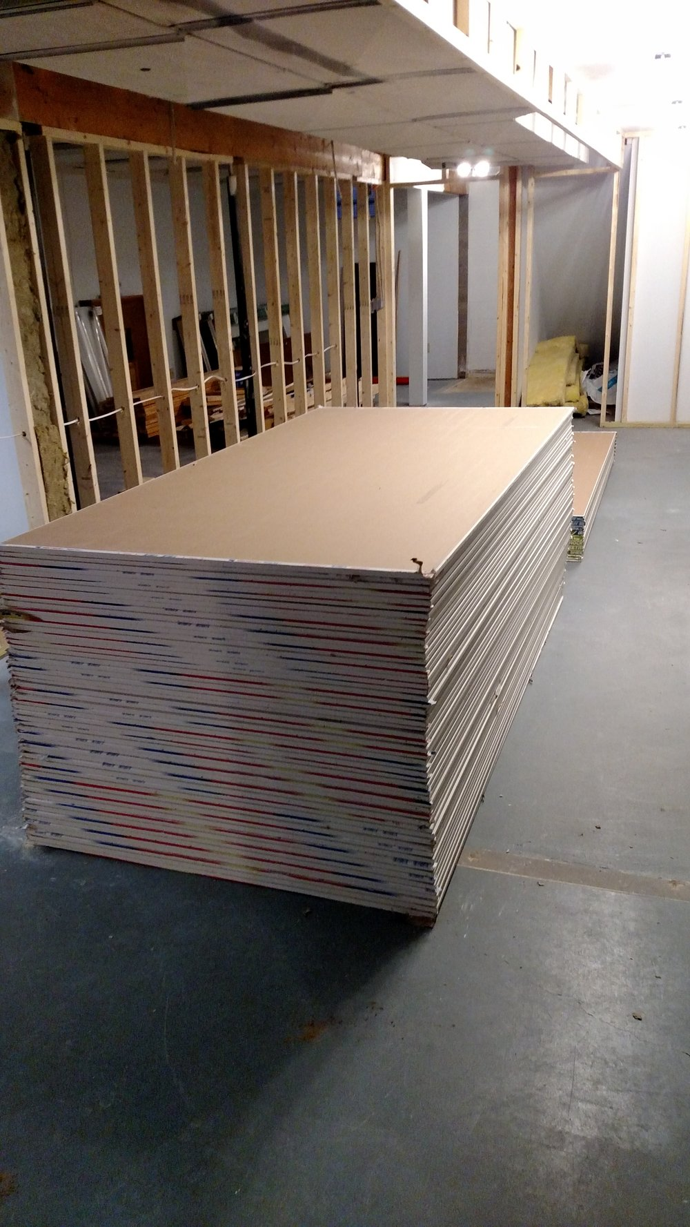 Drywall delivered for studios