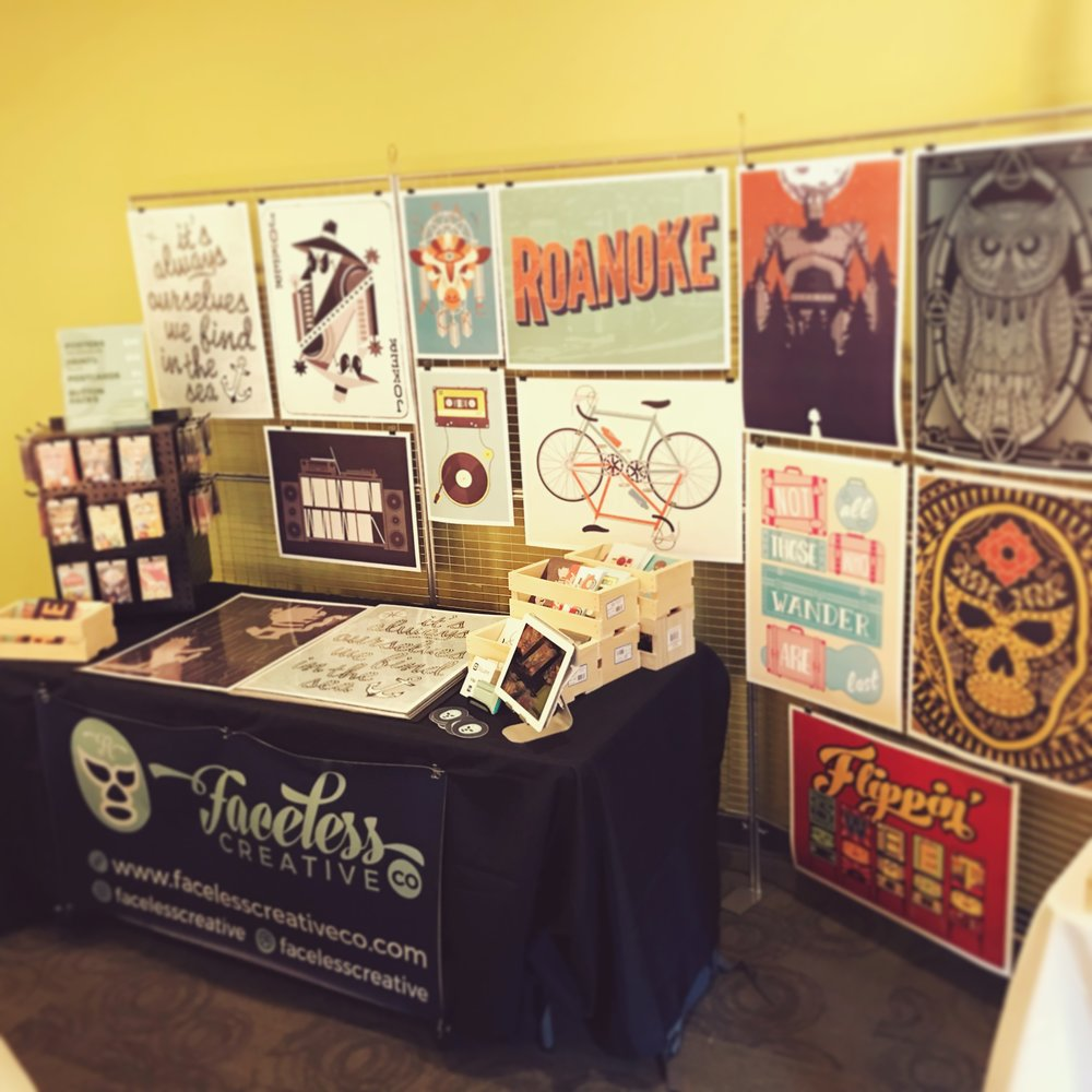The Faceless Creative Booth at Riot Rooster