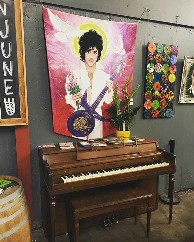 @hopsandgrain Featuring Prince lil Red Corvette Hood, totally Rad Art smack dab in front of Hella Ivory Piano.