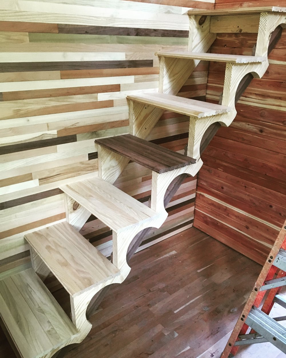a different type of wood for every step