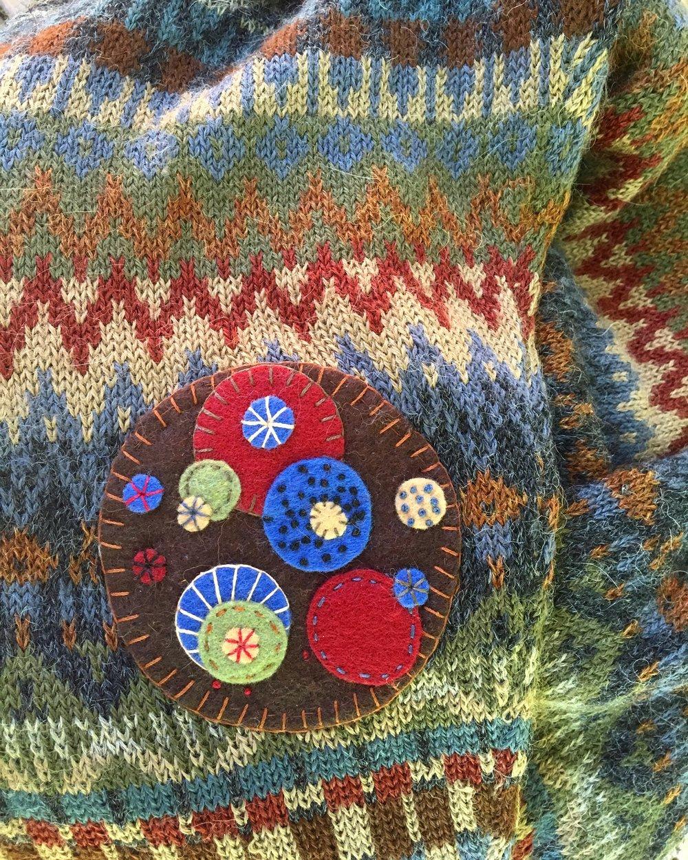 wool applique elbow patch mending