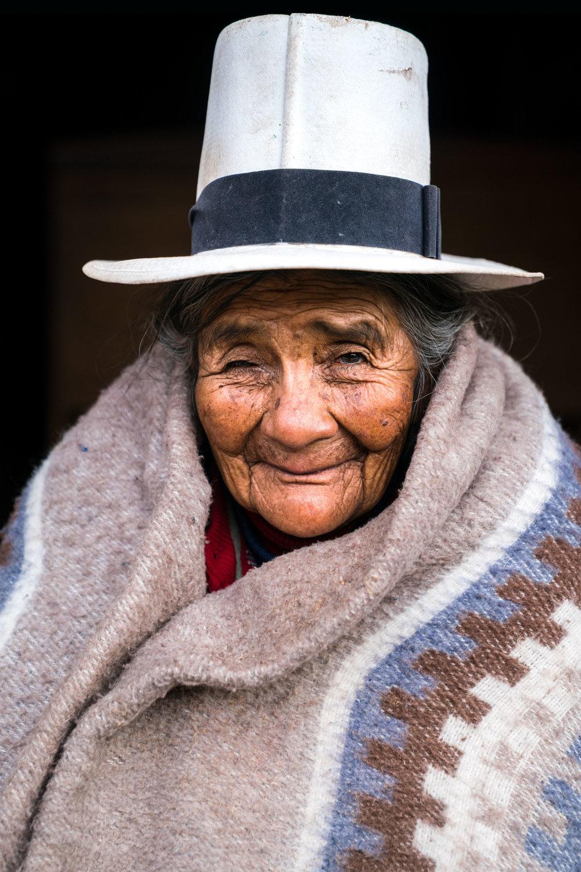 Elderly Peruvian woman portrait. Cusco Downtown, Peru