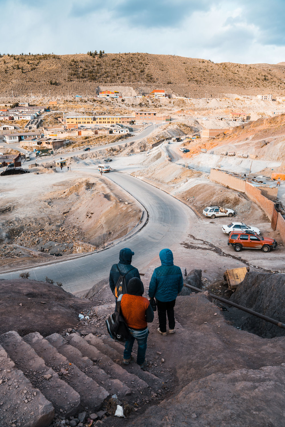 Mines' starting their commute home after a shift in the mountain. Potosi, Bolivia. 2018