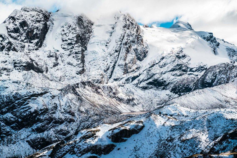 Glaciers engulfing the summit of the Vinicunca Mountain range. Peru