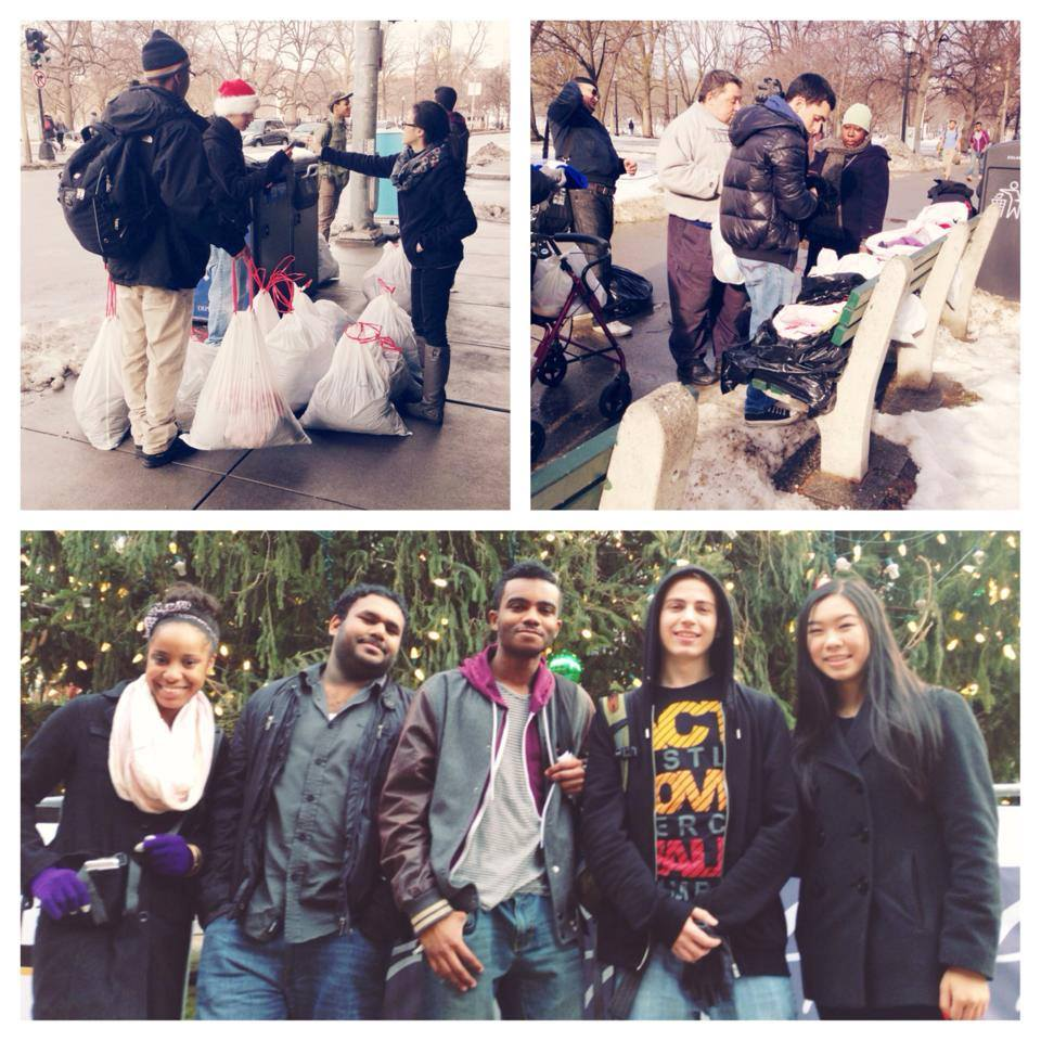UI Boston served the community passing out care packages, clothing, Bibles and more! 12/22/2013