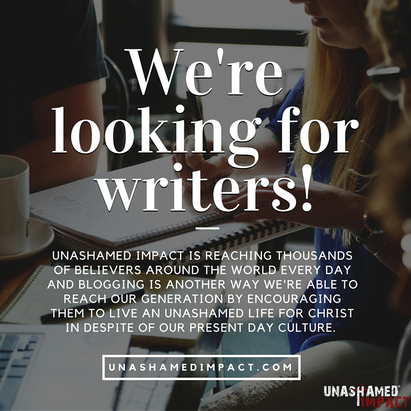 Join our team or refer a friend! Unashamed Impact is always looking for new writers. People who have a passion to be the voice of a generation after God's Heart. Sign up to join our team or refer a friend and we'll reach out to you!