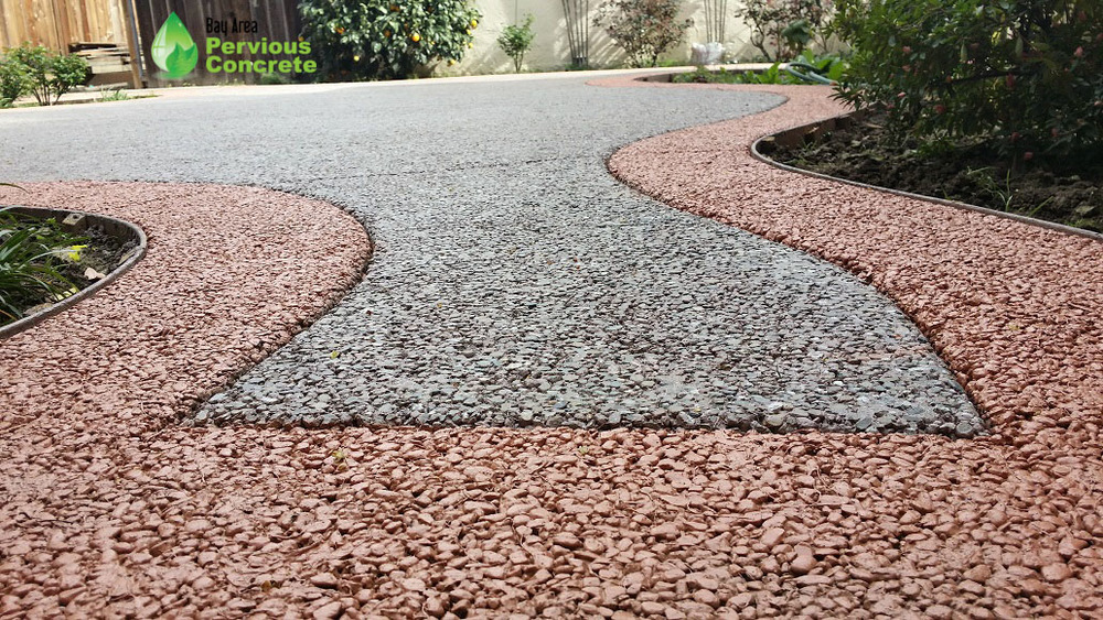 Decorative Stained and Polished Pervious Concrete - Custom stained border