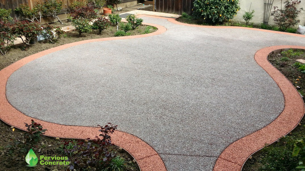 Decorative Stained and Polished Pervious Concrete - Custom border
