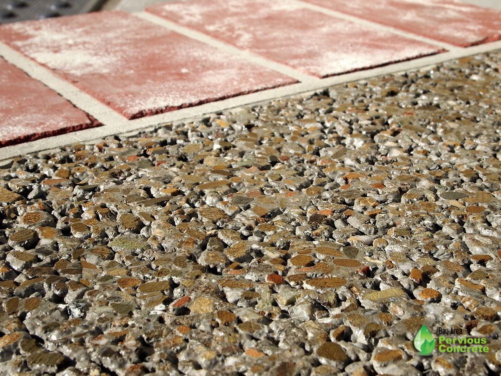 Decorative Colored Polished Pervious Concrete - Local aggregate with integral color