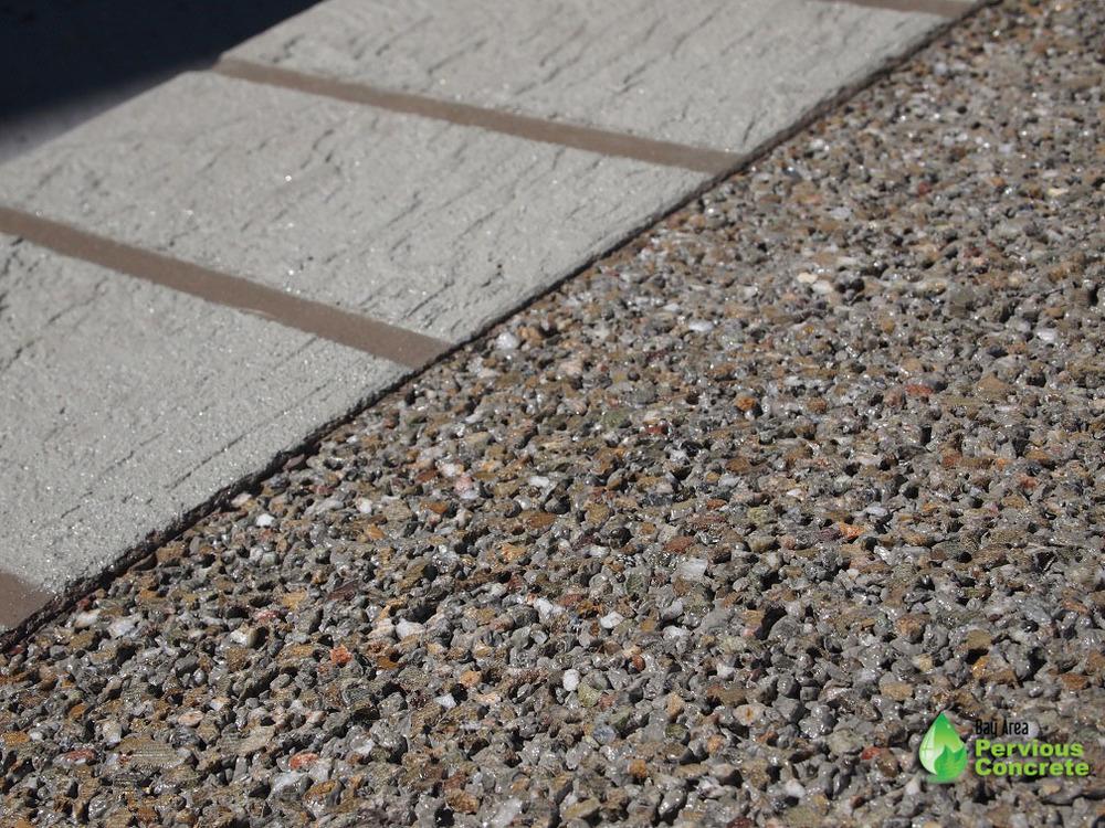 Decorative Colored Polished Pervious Concrete - Local fine grain aggregate with integral color and overlay border