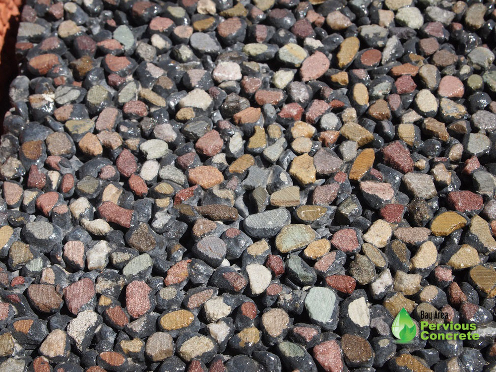 Decorative Colored Polished Pervious Concrete - Pami pebbles aggregate with integral color