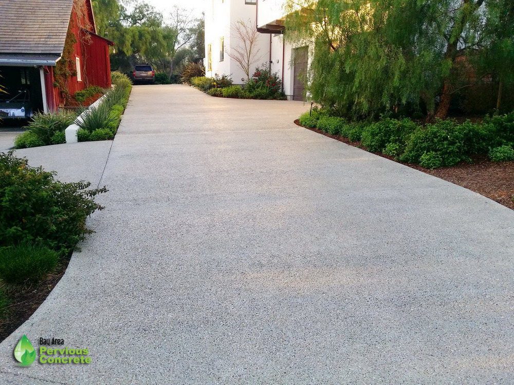 Residential Driveway- Polished Pervious Concrete- Los Altos Hills, CA