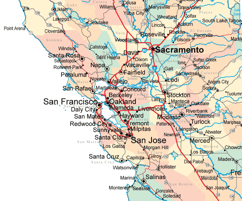 Bay Area Pervious Concrete's current service area across Northern California.