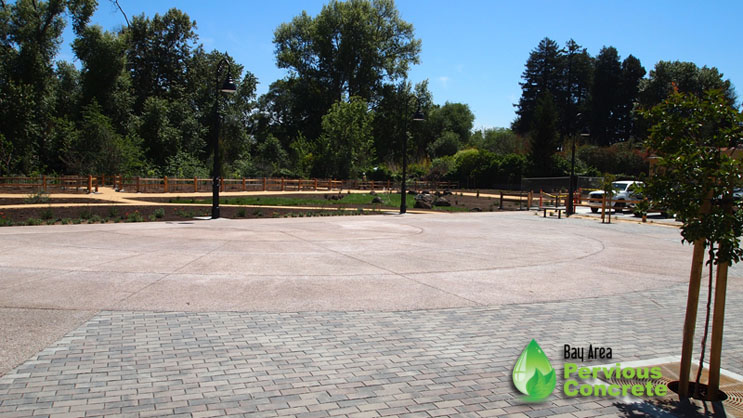 Heart of Soquel Park - Colored Pervious Concrete Plaza - Santa Cruz, CA