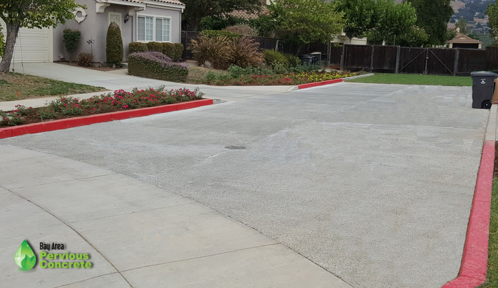 Seville Drive in Morgan Hill finished with pervious concrete