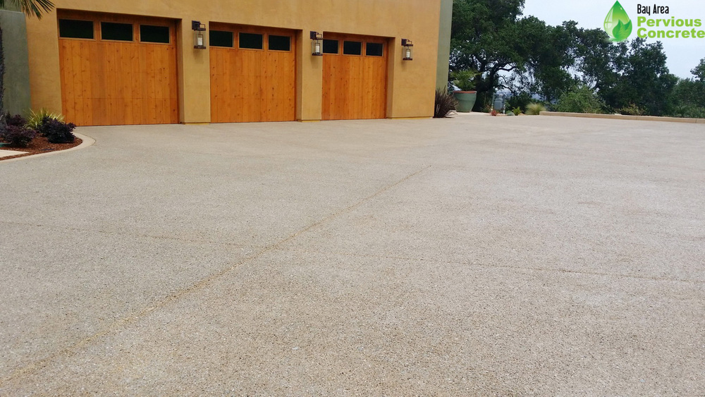 BAPC Polished Pervious Concrete Driveway featuring Palamino Color - Palo Alto, CA