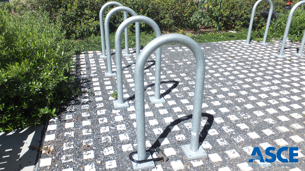 An permeable pavement bike parking area