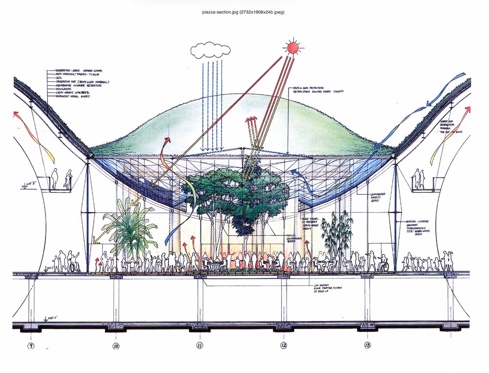 Diagram of how the green roof, piazza and guests provide passive climate control (click to zoom). Source: California Academy of Sciences