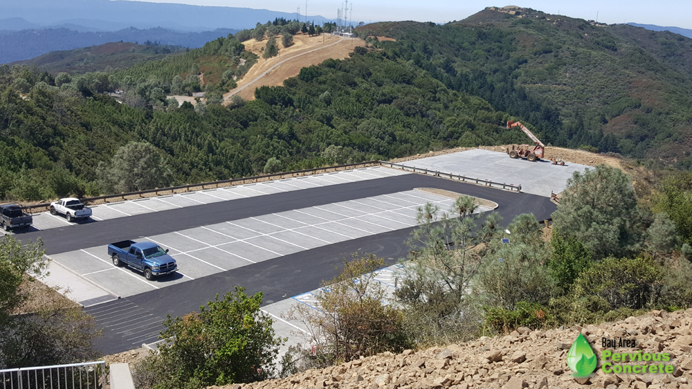 Pervious concrete helicopter pad and parking lot at Mt. Umunhum
